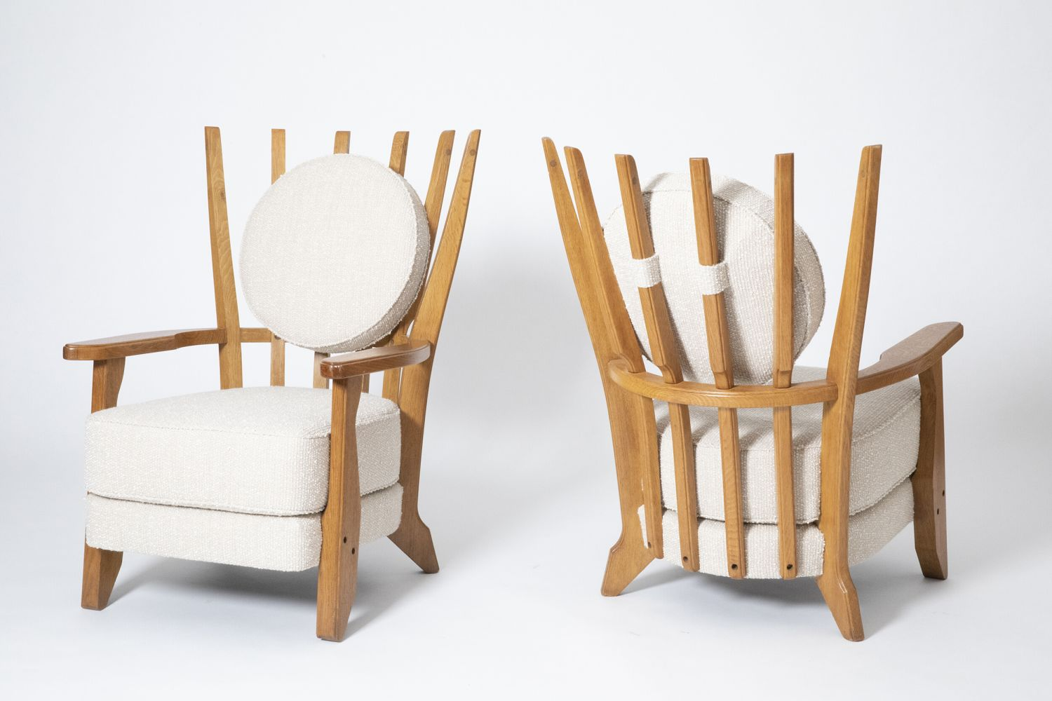 """Guillerme et Chambron's Pair of """"Tapissier"""" armchairs, full front and back diagonal views of both armchairs"""