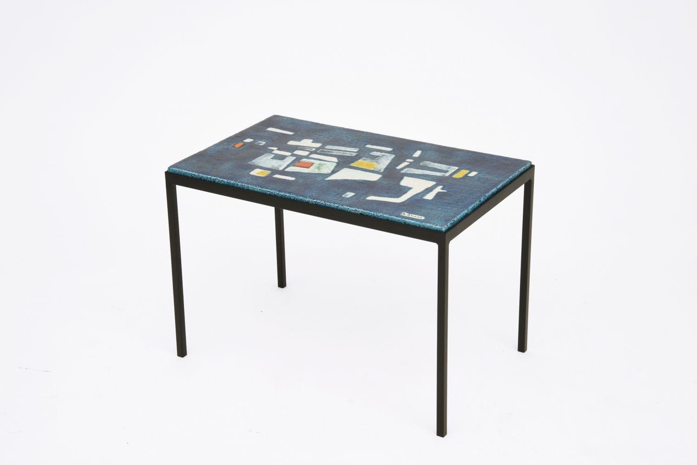 Jo Amado's ceramic coffee table, full diagonal view