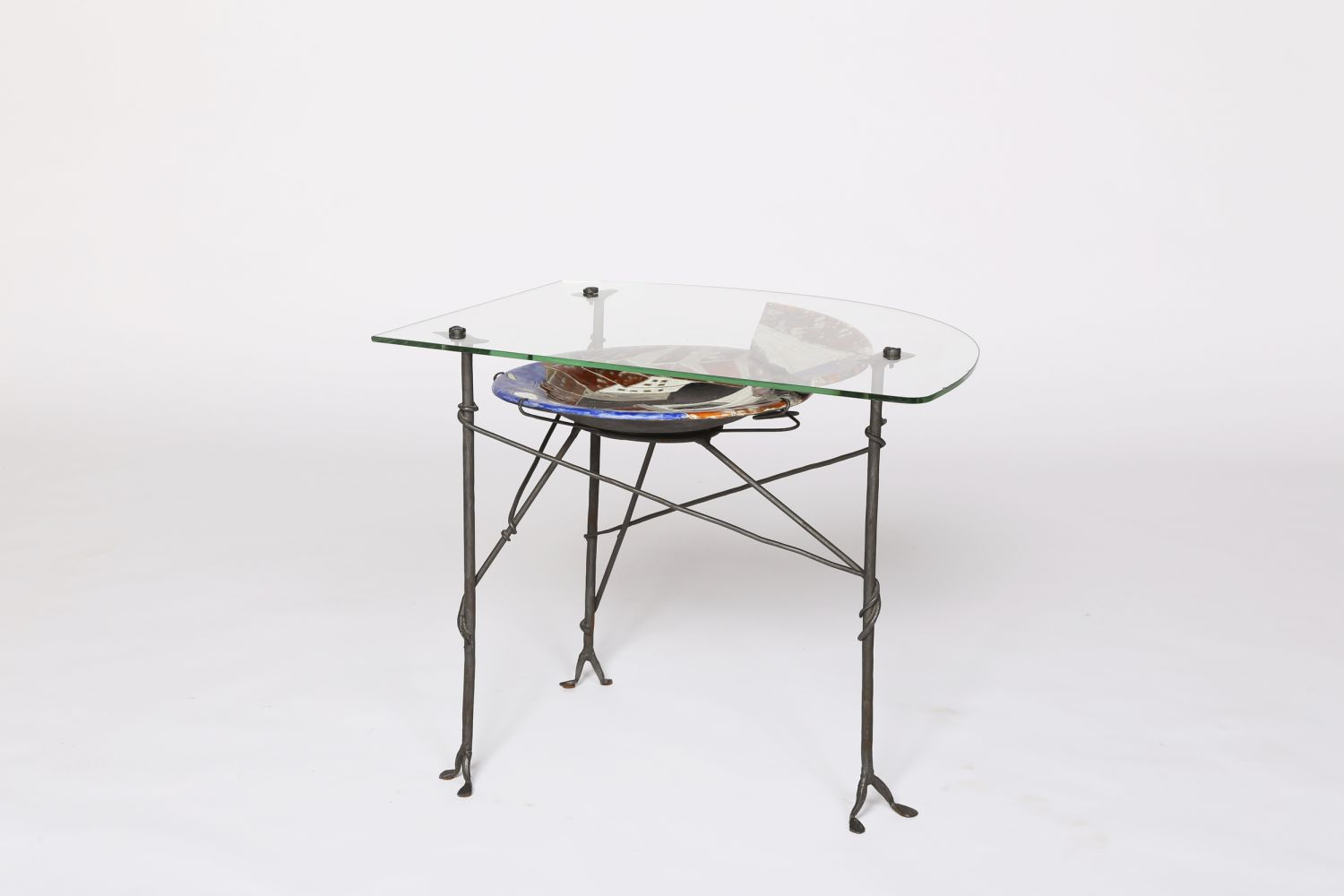 Les Archange' ceramic and glass coffee table, full straight view
