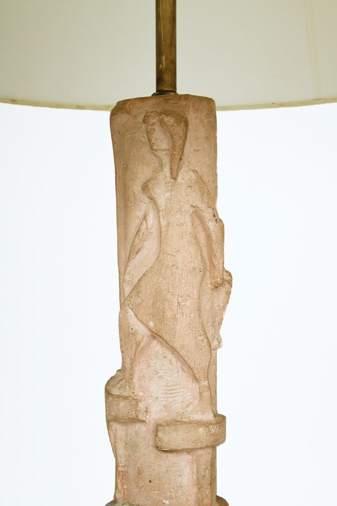 Pierre Blanc's floor lamp, detailed view of stand towards the top