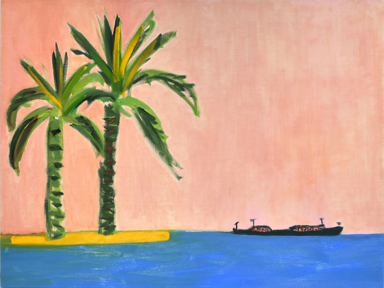 Image of Palm Trees and Boat
