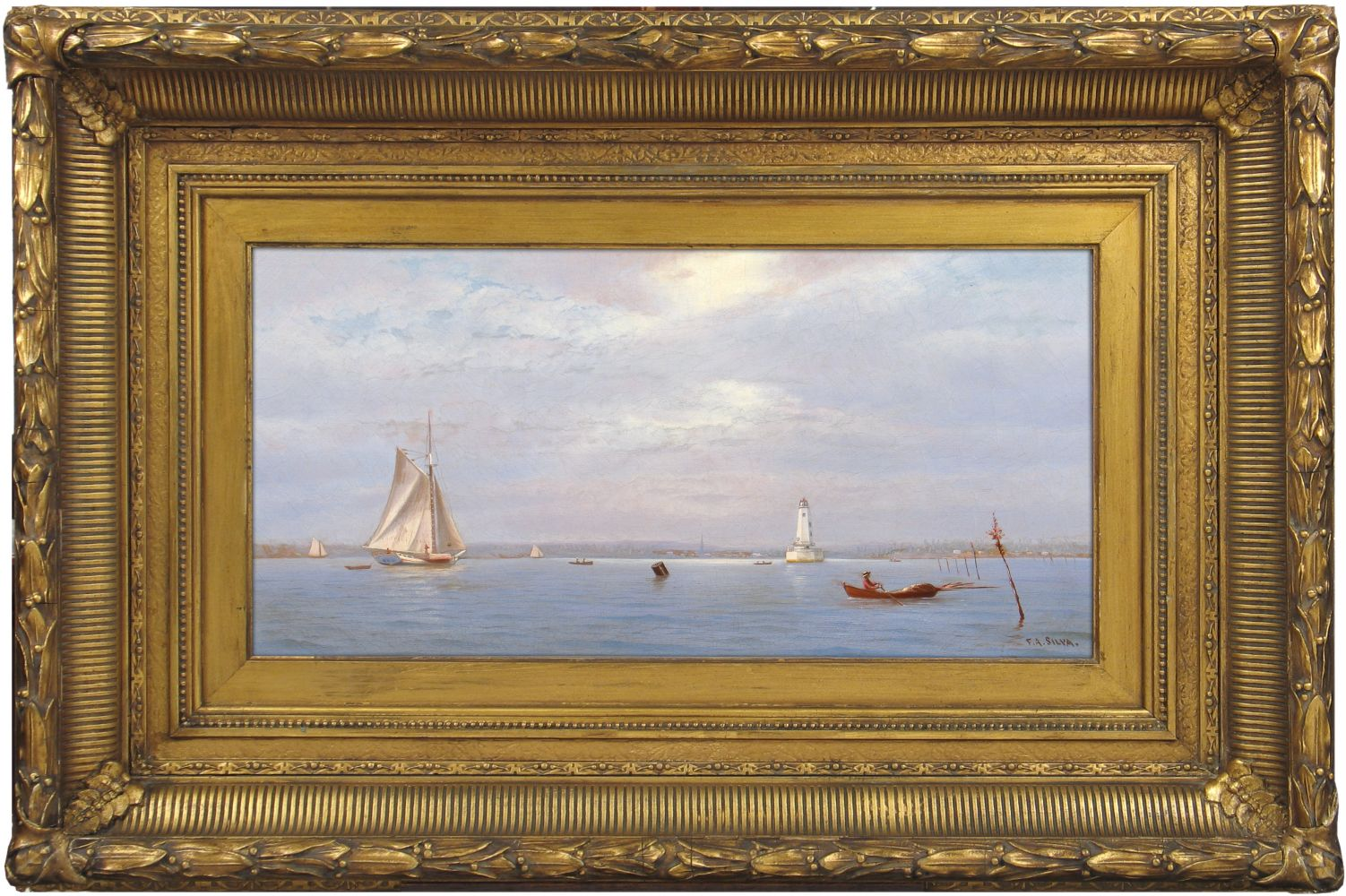 Francis Augustus Silva (1835–1886), Robbin's Reef Lighthouse off Tompkinsville, New York Harbor, c. 1880, oil on canvas, 9 x 18 in., signed lower right: F. A. Silva. (framed)