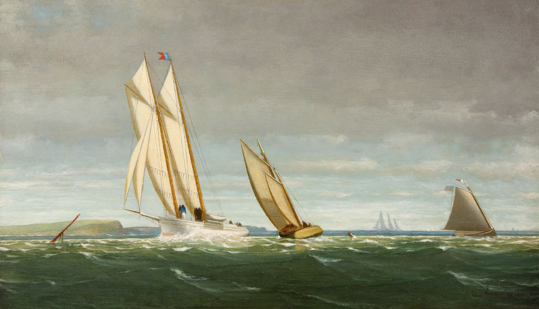 George Curtis (1816–1881), Sailing off the Coast, 1878, oil on panel, 11 ½ x 20 in., signed and dated lower right: Geo. Curtis 1878