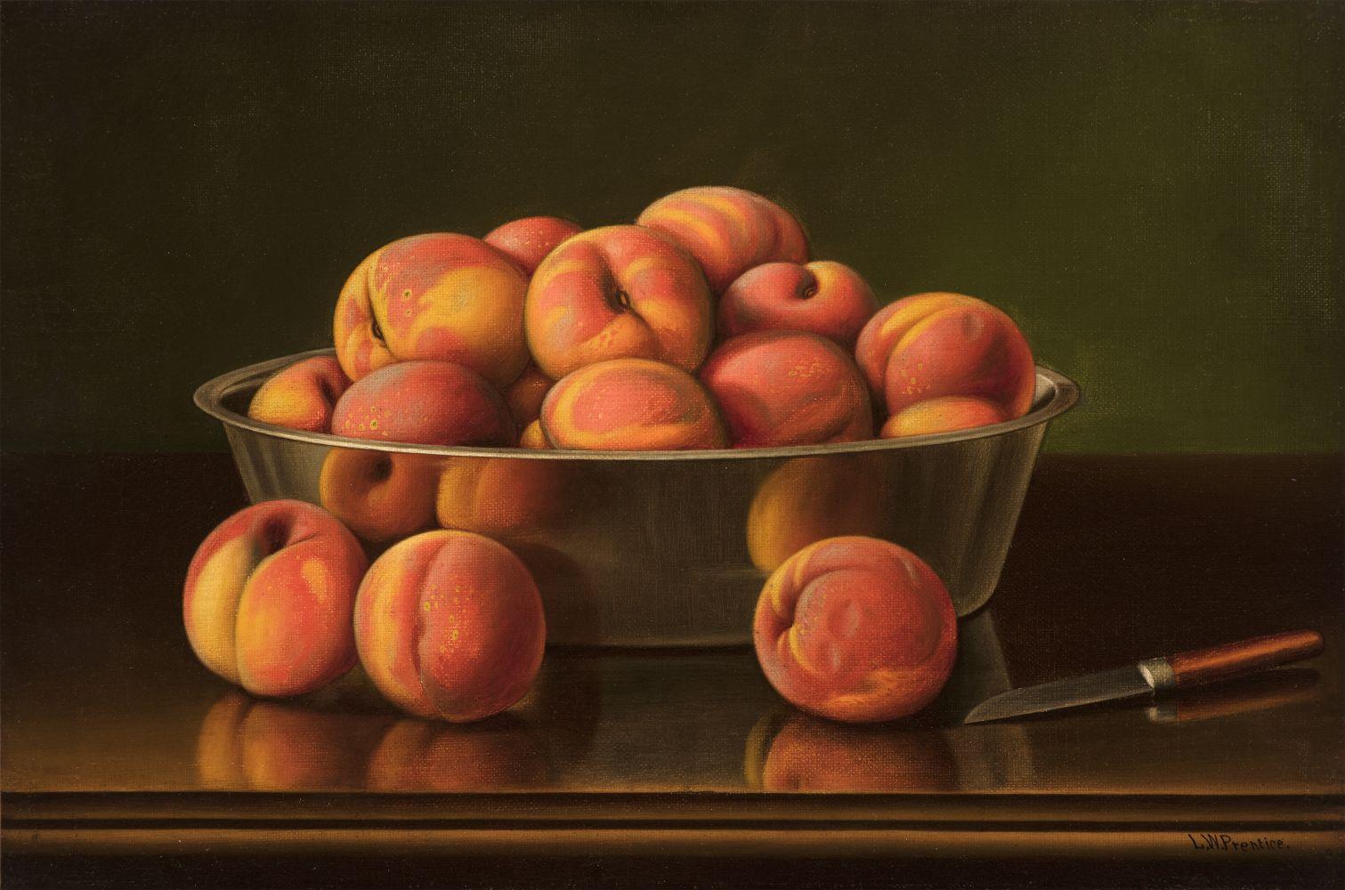 Levi Wells Prentice (1851–1935), Peaches in a Silver Bowl, oil on canvas, 12 x 18 in., signed lower right: L. W. Prentice