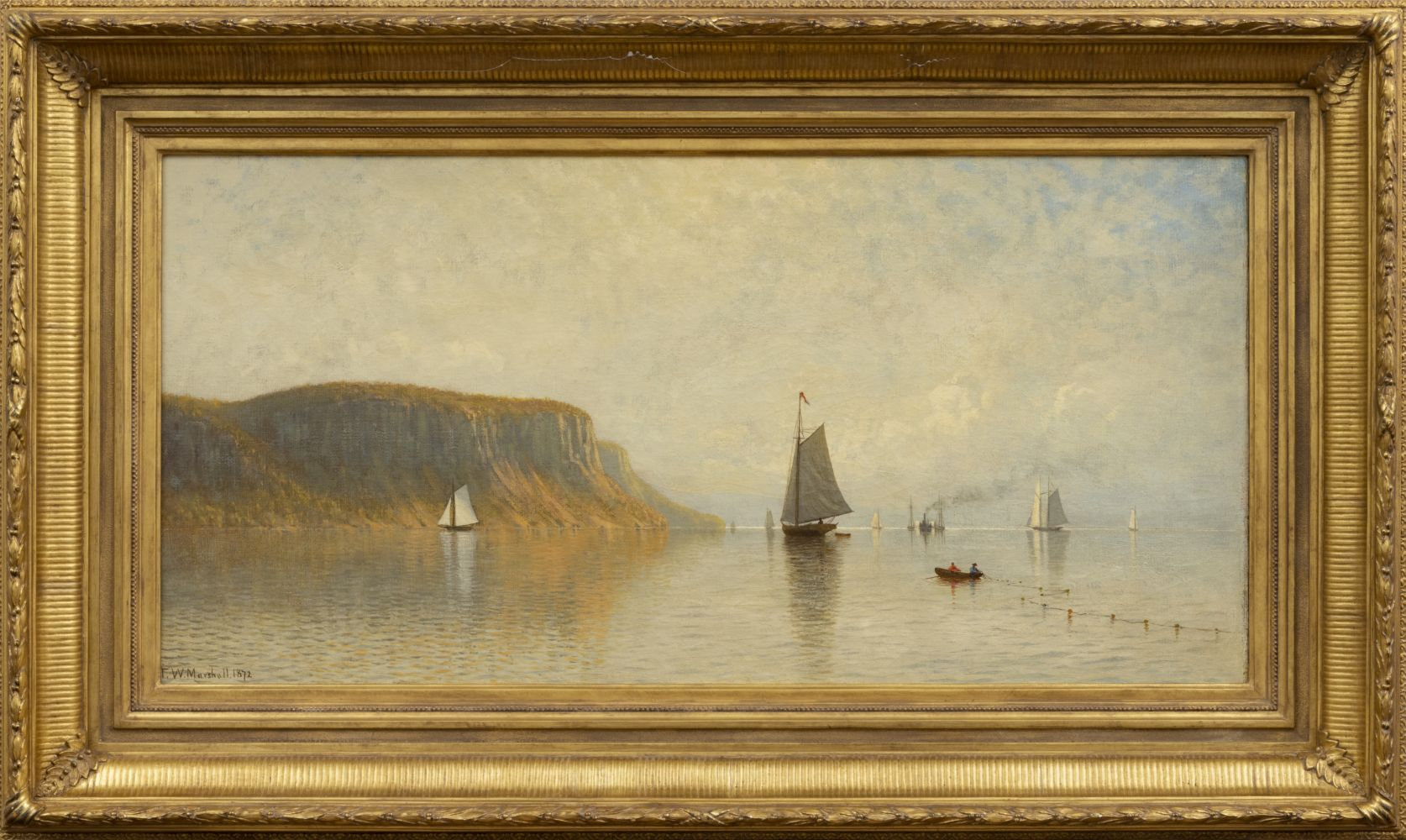 Thomas W. Marshall (1850-1874) Hudson River Near Hastings, 1872. Oil on canvas, 18 x 36 in. Signed and dated lower left: Thomas W. Marshall 1872 (framed)