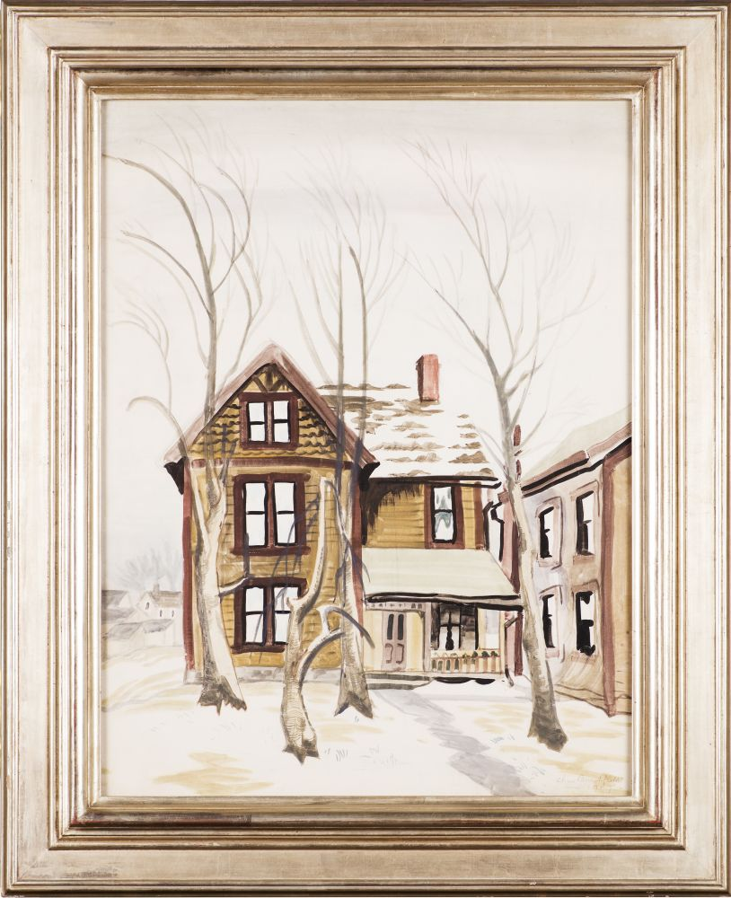 Charles Ephraim Burchfield (1893–1967), Frosted Windows, 1917, watercolor and pencil on paper, 26 x 20 in., signed and dated lower right: Chas Burchfield / Jan 1917 – (framed)