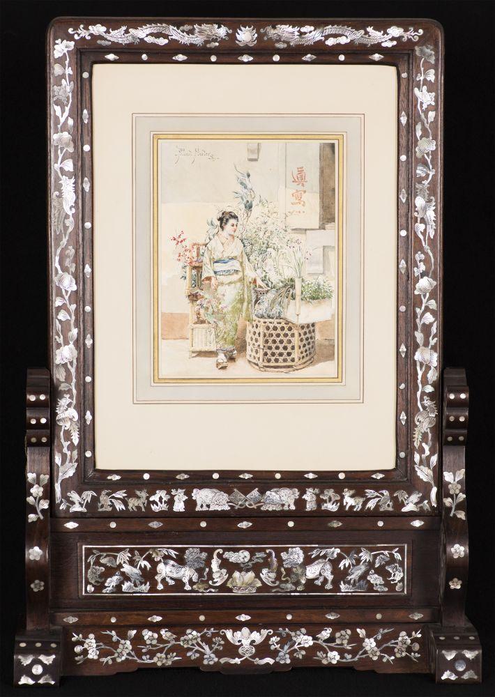 Albert Herter (1871–1950), A Japanese Woman, 1889, watercolor on paper, 9 x 6 1/2 in., signed and dated upper left: - Albert Herter - / - '89 - (framed)