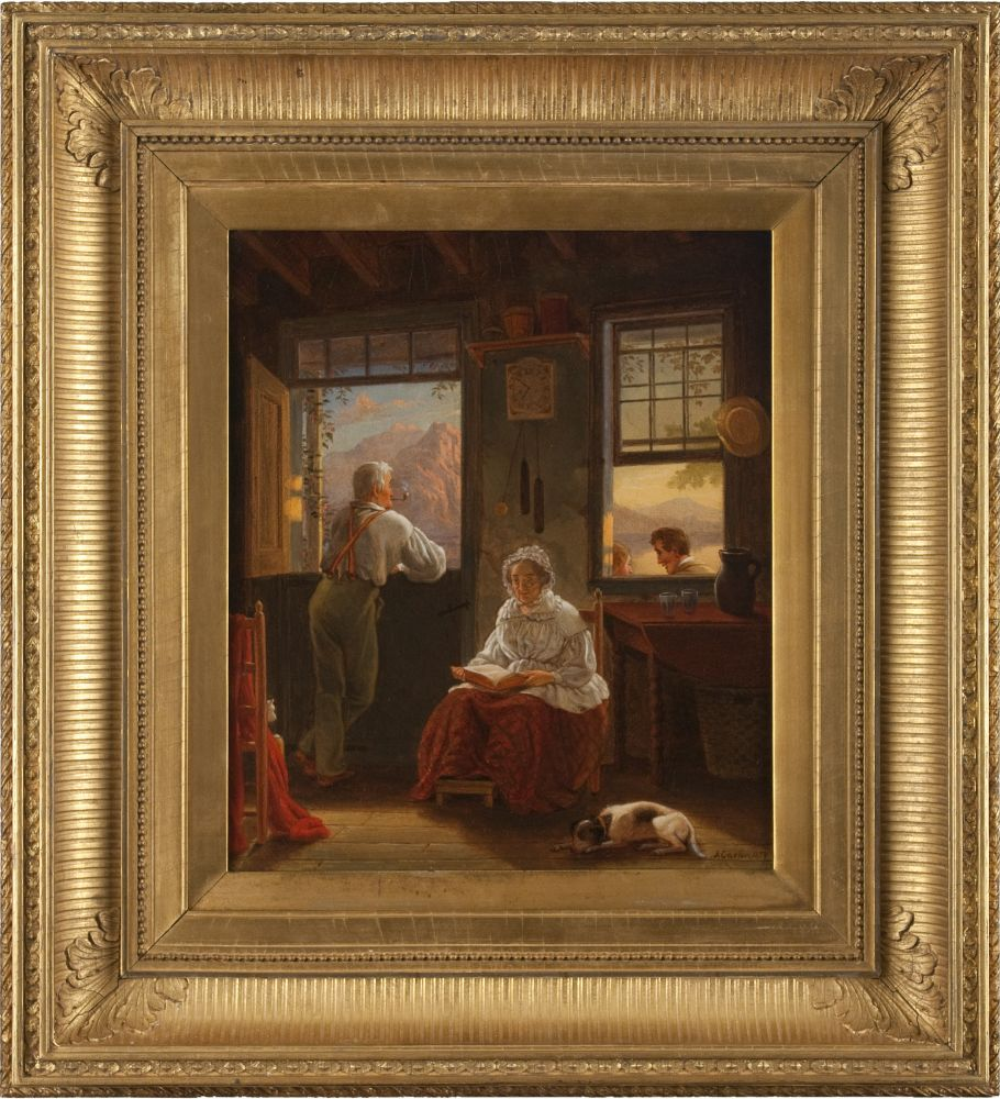John Carlin (1813–1891), Sunday Afternoon, 1859, oil on canvas, 14 x 12 in., signed and dated lower right (framed)