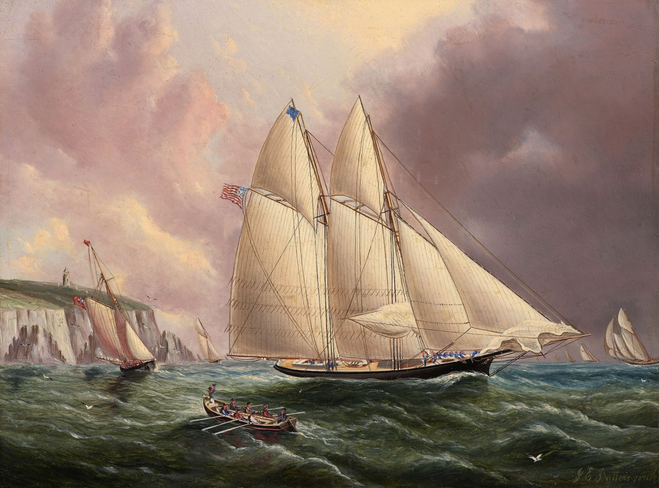 James E. Buttersworth (1817–1894)  Yacht Henrietta Off the Isle of Wight, 1866, oil on board, 9 x 12 in., signed lower right: JE Buttersworth, On reverse: Henrietta off the Isle of Wight