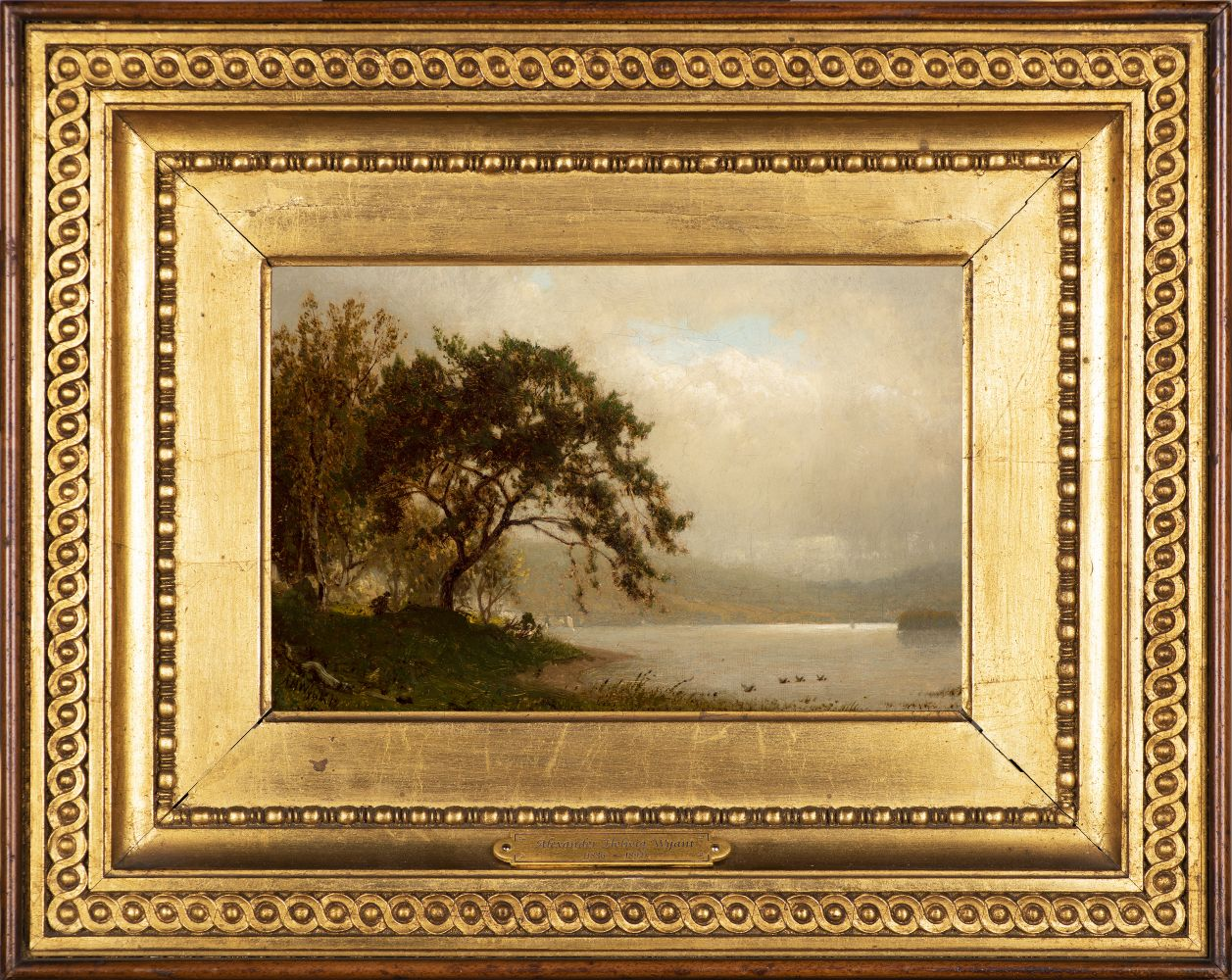 Alexander Helwig Wyant (1836–1892), The Duck Hunter, c. 1872–75, oil on canvas, 6 1/8 x 9 1/8 in., signed lower left: AH Wyant (framed)