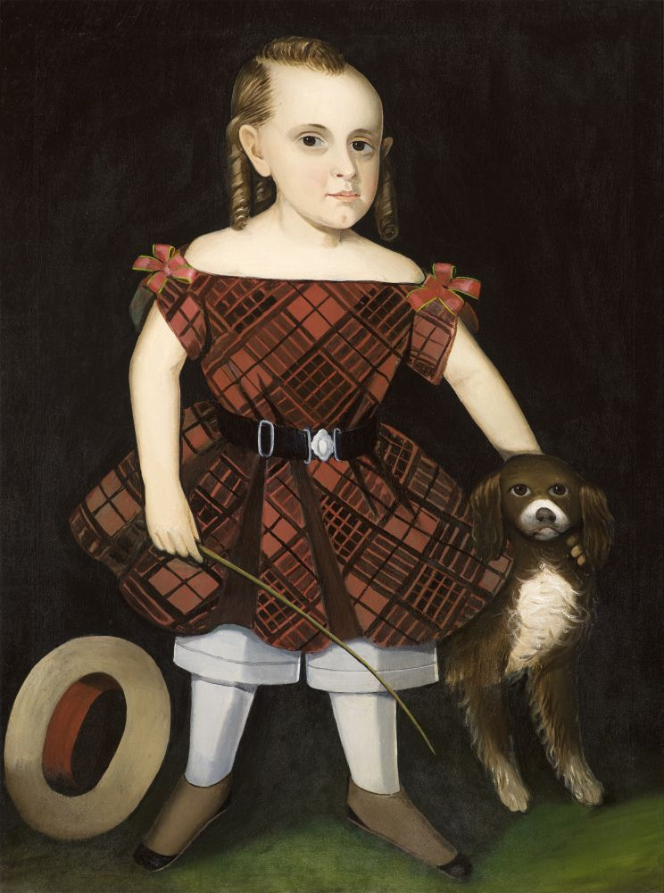Ammi Phillips (1788–1865), Portrait of a Child in a Plaid Dress with a Dog, oil on canvas, 37 1/2 x 28 1/4 in.