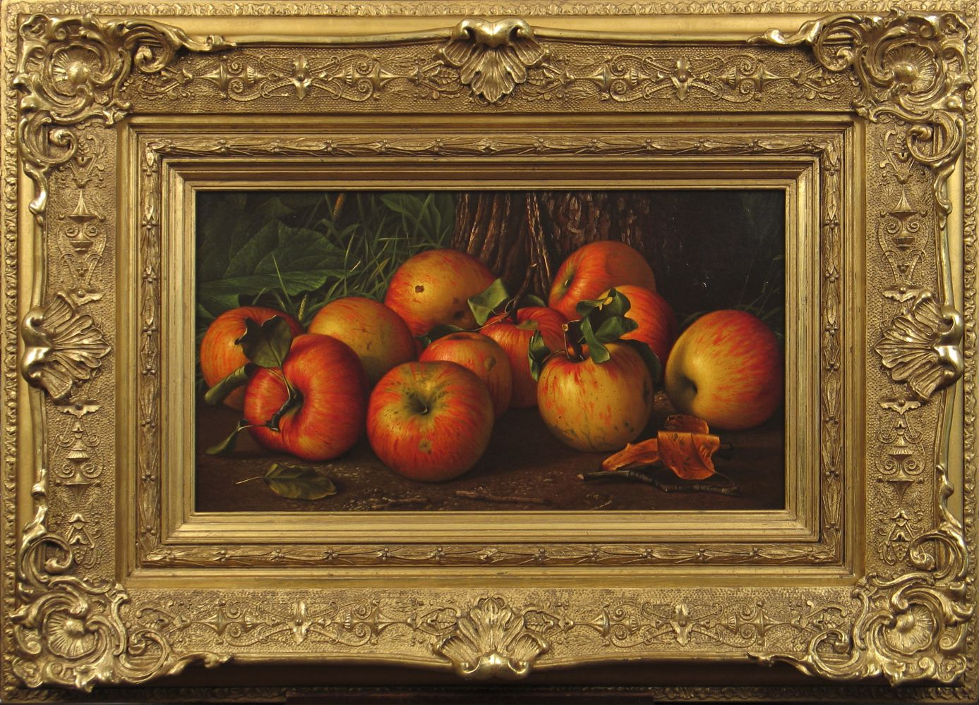 Levi Wells Prentice (1851–1935), Apples by a Tree, c. 1885, oil on canvas, 10 x 18 in. (framed)