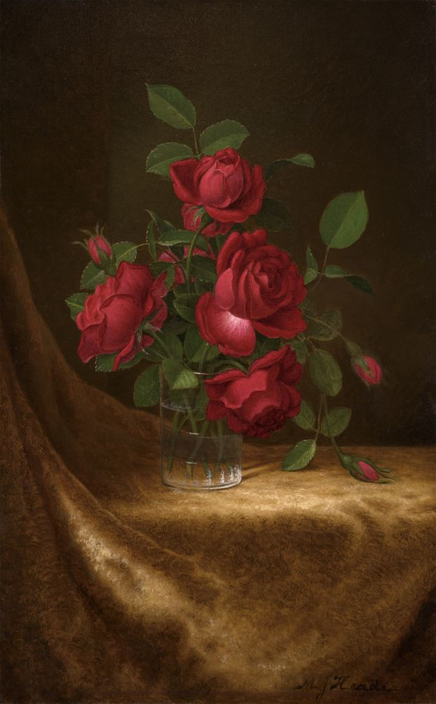 Martin Johnson Heade (1819–1904), Four Roses in a Glass, c. 1883–1900, oil on canvas, 22 x 14 in., signed lower right: M J Heade