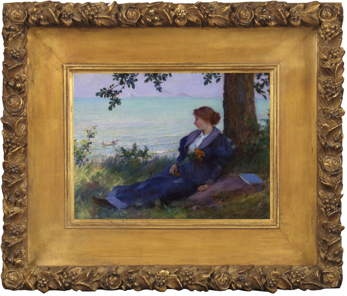 Charles Courtney Curran (1861–1942), An Afternoon Respite, 1894, oil on canvas, 9 x 12 in., signed and dated lower right: Chas C. Curran 1894 (framed)
