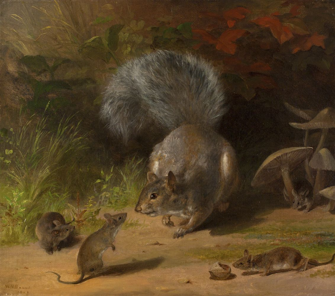 William Holbrook Beard (1824–1900), Squirrel and Mice, 1859. Oil on canvas. 14 1/8 x 16 1/8 in. Signed and dated lower right.