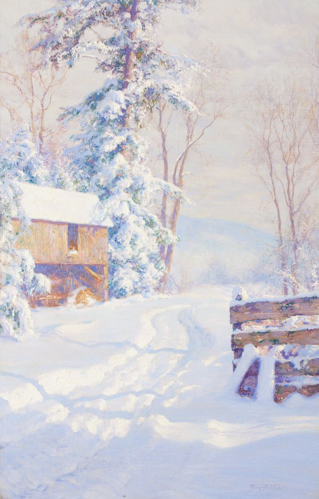 Walter Launt Palmer (1854–1932), Winter Morning, 1915, oil on canvas, 28 x 18 in., signed lower right: W. L. Palmer