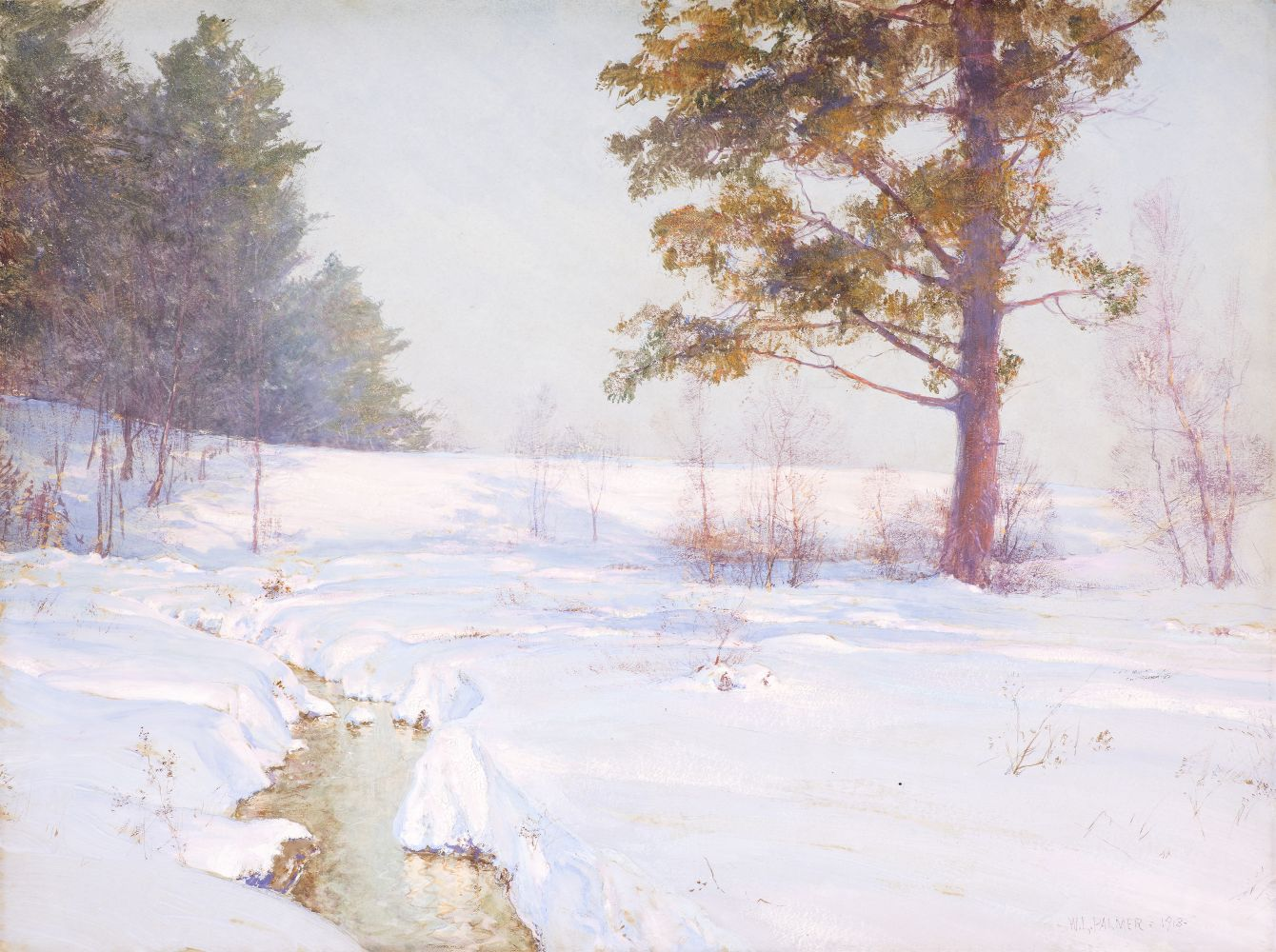 Walter Launt Palmer (1854–1932), Stream in Winter, 1913, watercolor and gouache on paper, 18 x 24 in., signed and dated lower right: W. L. Palmer 1913