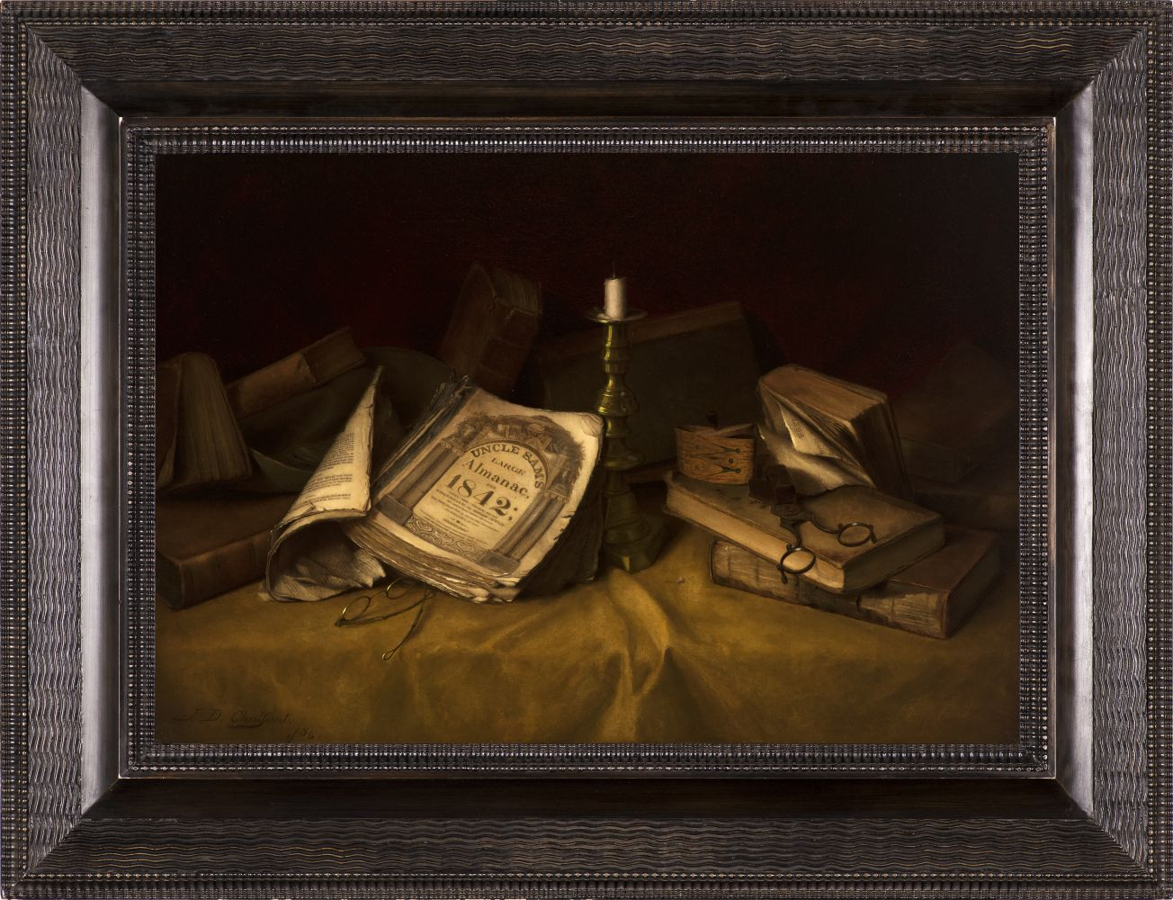Jefferson David Chalfant (1856–1931), The Old Almanac, 1886, oil on canvas, 17 1/2 x 25 5/8 in.,  signed and dated lower left: J. D. Chalfant 1886 (framed)
