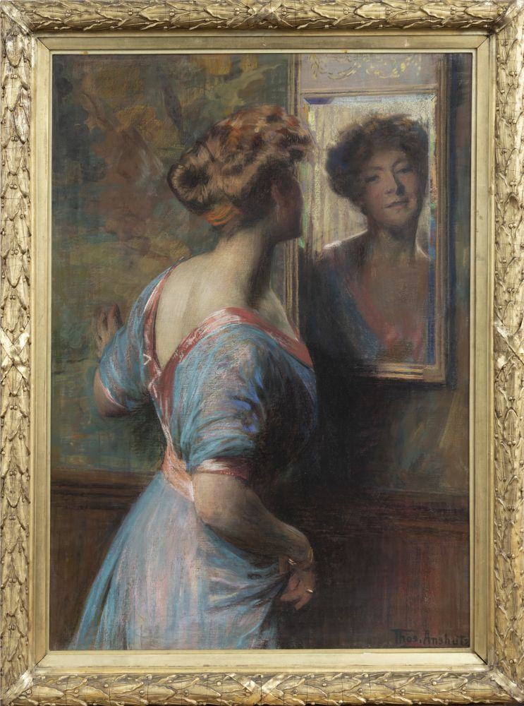 Thomas Anshutz (1851–1912). A Passing Glance, c. 1907. Pastel on canvas. 42 x 30 in. Signed lower right: Thos. Anshutz (framed)