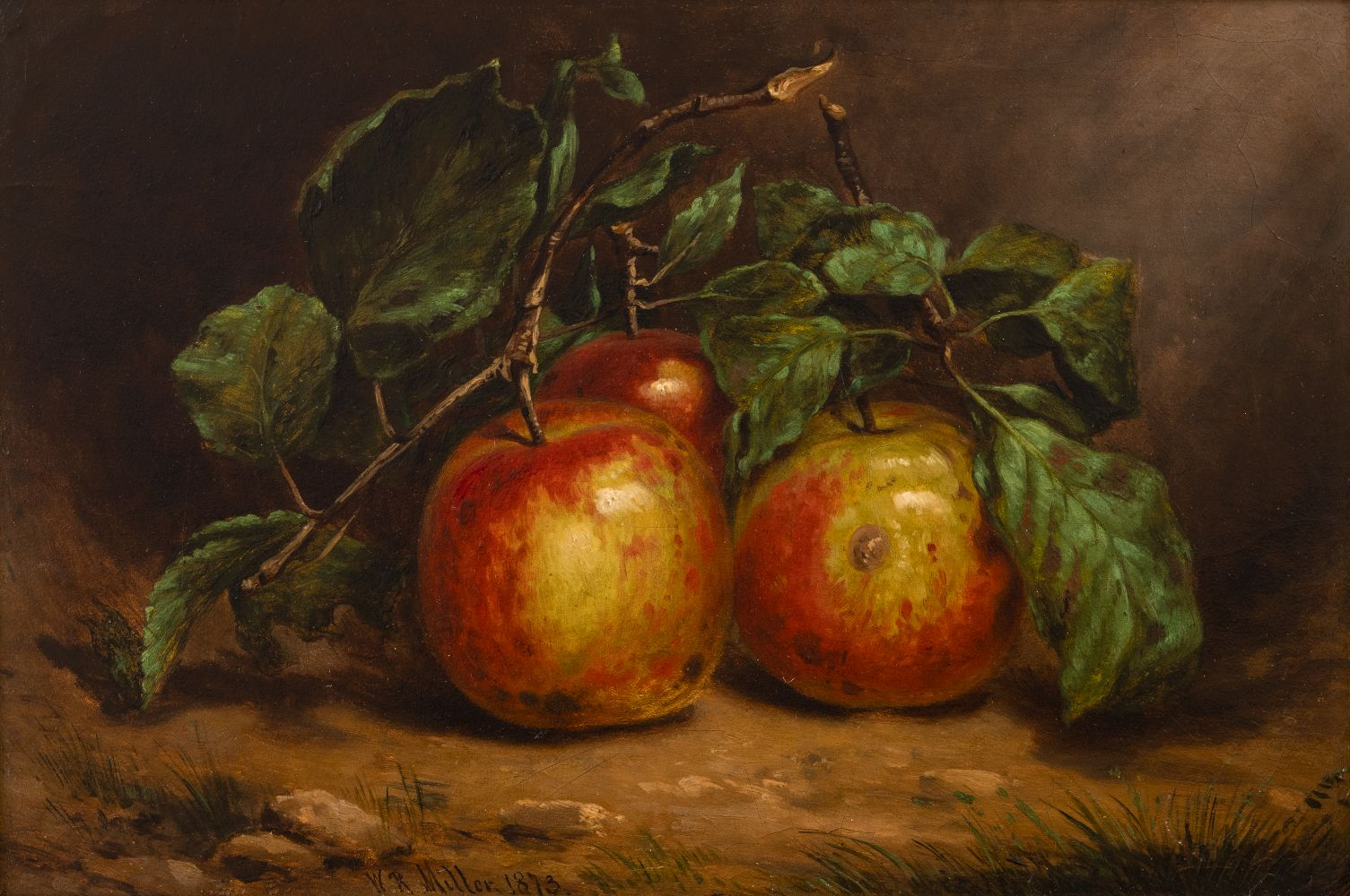 William Rickarby Miller (1816–1888), Study of Apples on a Bough, 1873, oil on board, 8 1/2 x 12 1/2 in. , signed and dated lower left: W. R. Miller 1873