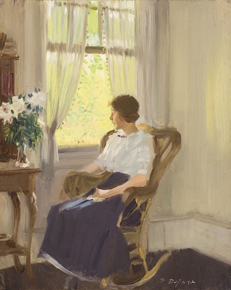 Edward Dufner (1871–1957), By the Window, c. 1911–17, oil on board, 9 3/4 x 7 3/4 in., signed lower left: E. Dufner