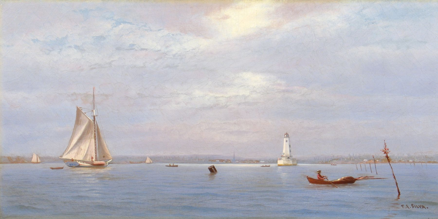 Francis Augustus Silva (1835–1886), Robbin's Reef Lighthouse off Tompkinsville, New York Harbor, c. 1880, oil on canvas, 9 x 18 in., signed lower right: F. A. Silva.