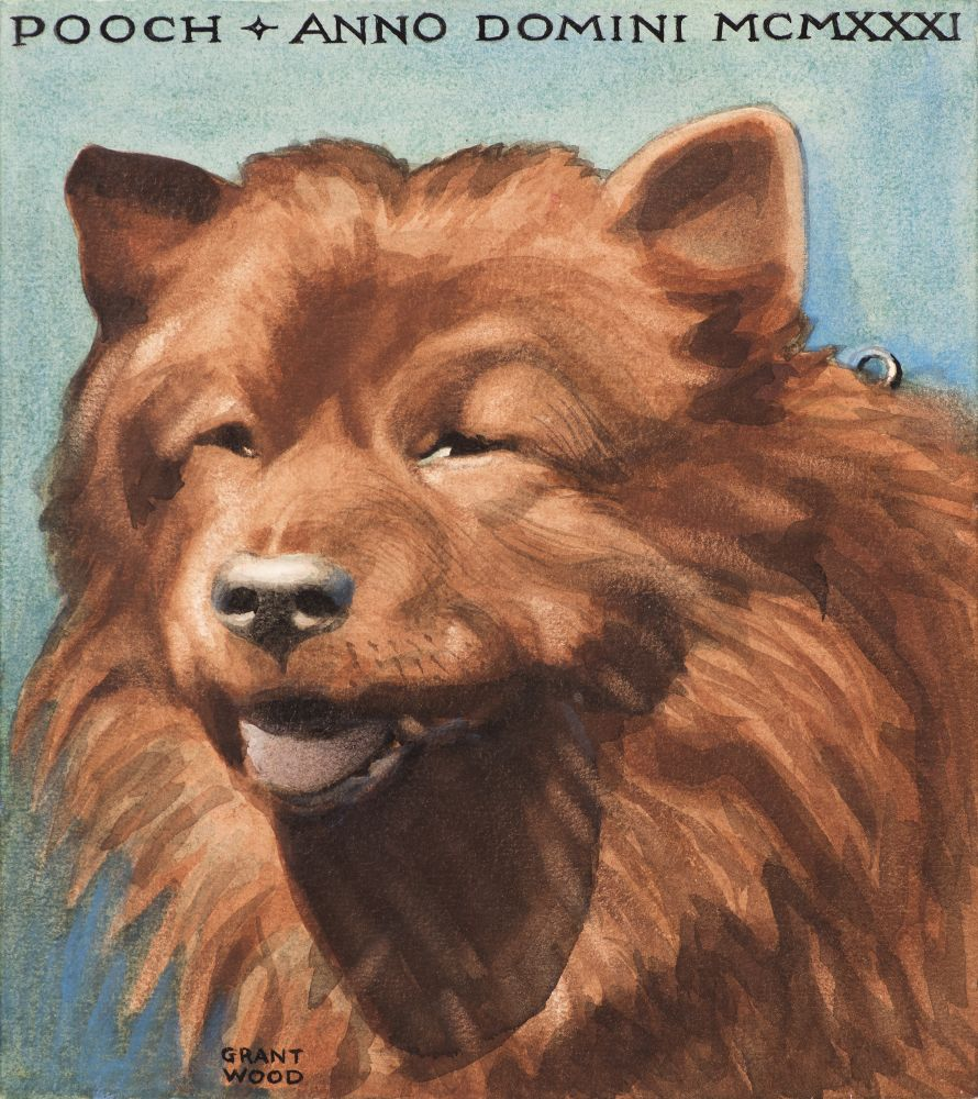 Grant Wood, (1891–1942), Pooch, 1931, watercolor on paper, 8 3/4 x 7 3/4 in., signed lower left: Grant Wood