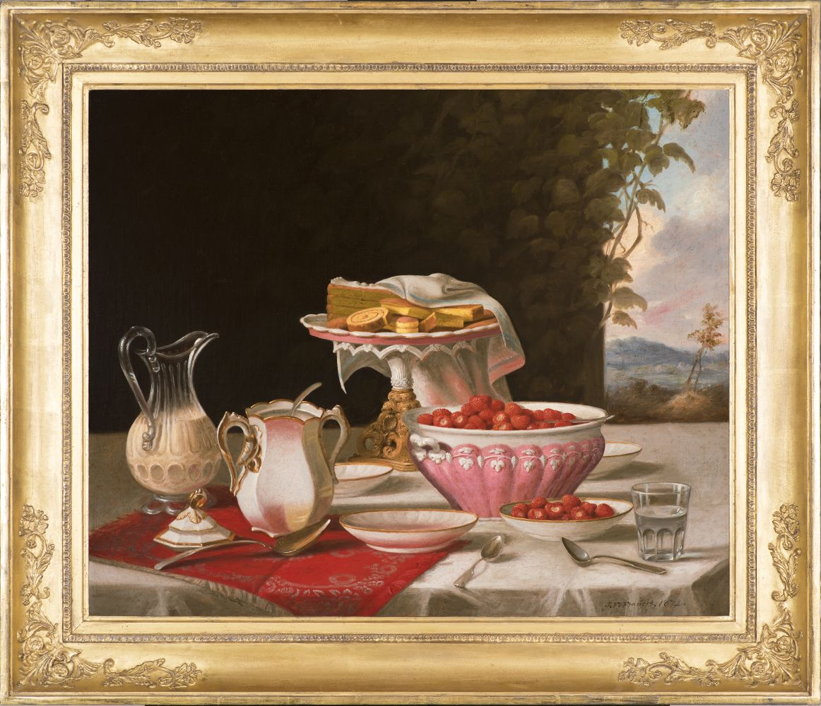 John F. Francis (1808–1886), The Dessert, 1872, oil on canvas, 25 x 30 ½ in., signed and dated lower right: J.F. Francis. 1872. (framed)