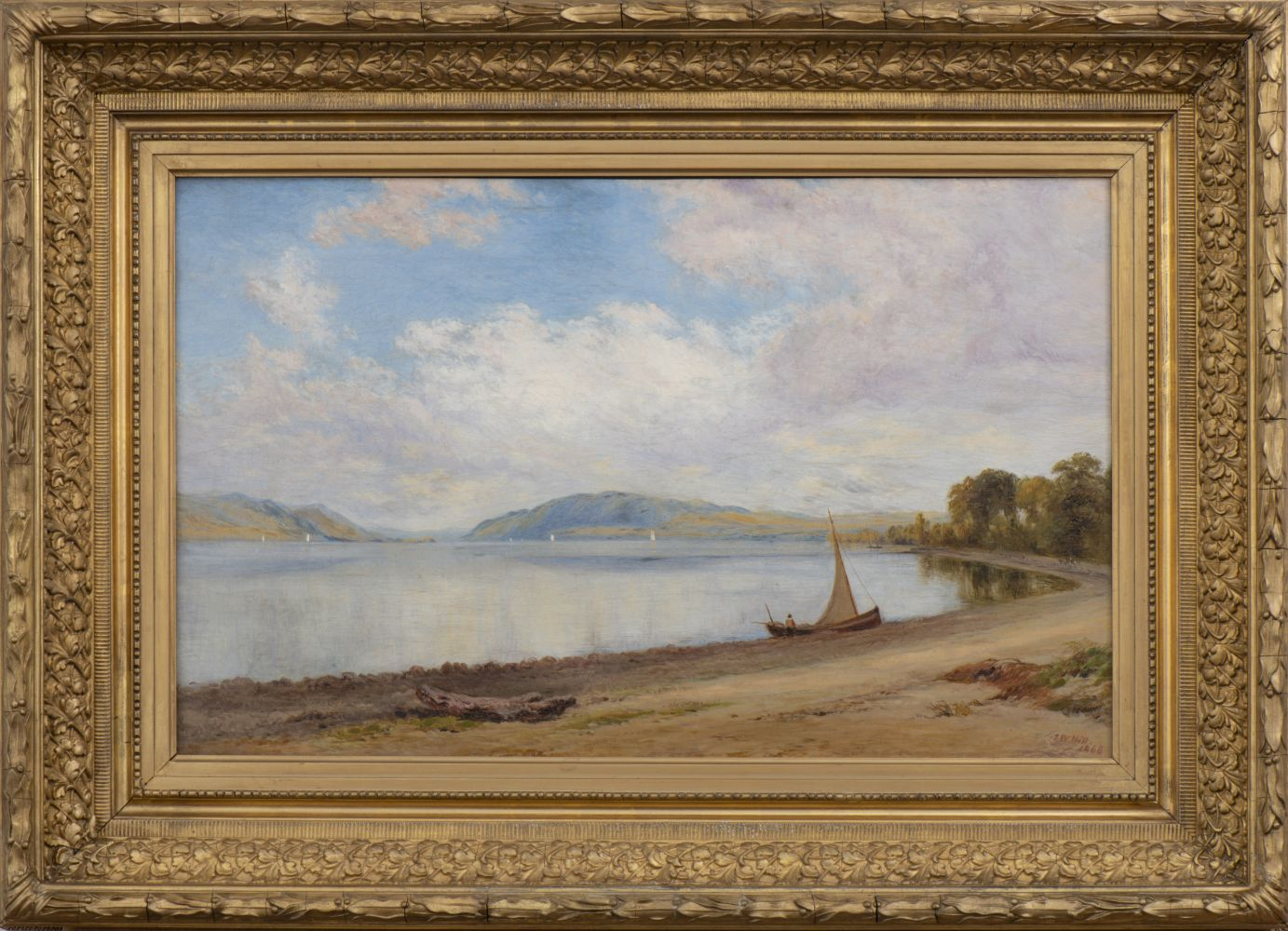 John William Hill (1812–1879) Afternoon, Newburgh-on-Hudson, 1868. Oil on canvas, 15 x 24 in. Signed and dated lower right: J. W. Hill / 1868 (framed)