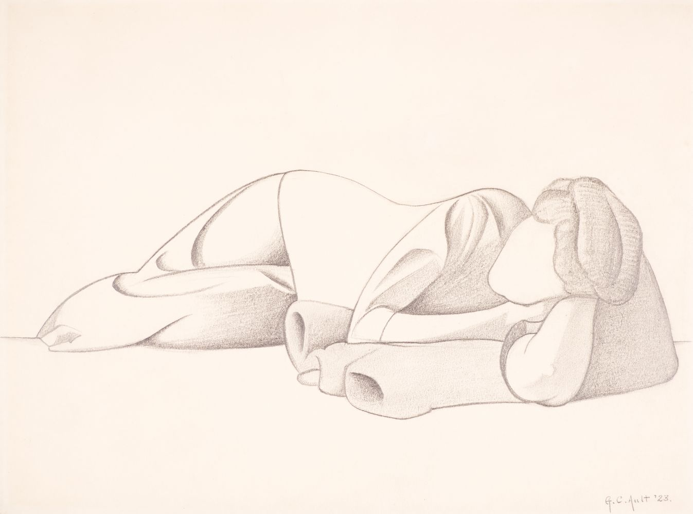 George C. Ault (1891–1948), Reclining Figure, 1923, pencil on paper, 8 ⅞ x 11 ⅞ in., signed and dated lower right: George C. Ault '23 Inscribed in pencil on verso: 135 –