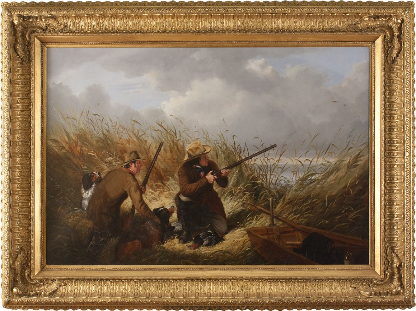 Arthur Fitzwilliam Tait (1819–1905)  Duck Shooting over Decoys, 1854. Oil on canvas. 30 x 43 in. Signed and dated lower right: A. F. Tait 1854 (framed)