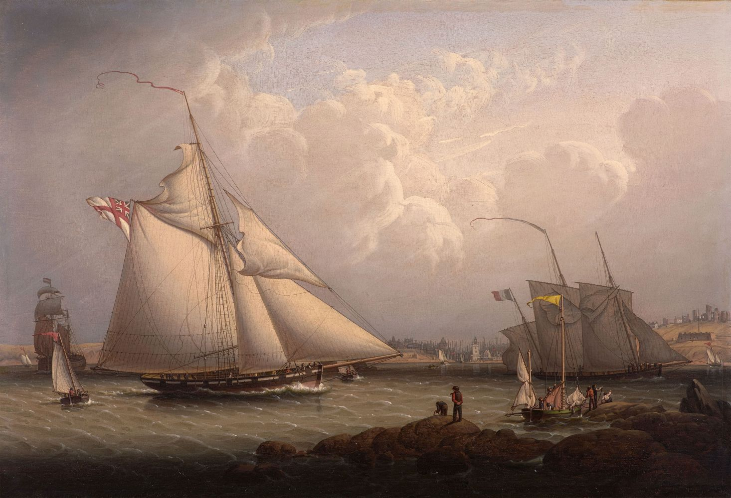 Robert Salmon (1775–c. 1845), English Cutter and Lugger, off North Shields, 1840, oil on panel, 16 1/2 x 24 1/2 in., inscribed verso in artist's hand: No. 28 / Painted by R. Salmon/ 1840