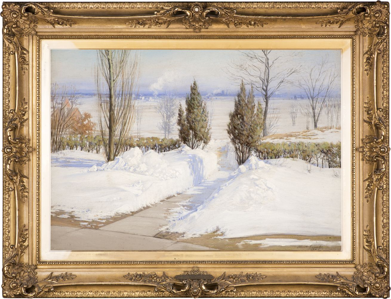 Alice Helm French (1864–after 1953), The Path Through the Drifts, Chicago, 1908, pastel on paper, 23 x 32 in., signed and dated lower right: Alice H. French 1908