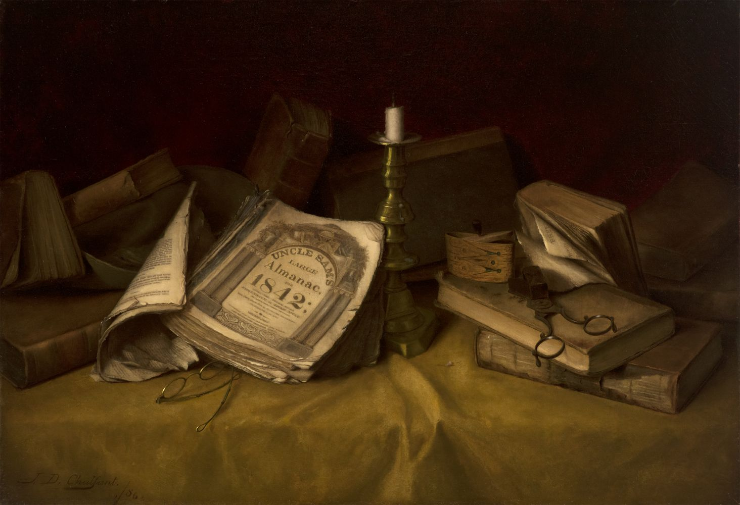 Jefferson David Chalfant (1856–1931), The Old Almanac, 1886, oil on canvas, 17 1/2 x 25 5/8 in., signed and dated lower left: J. D. Chalfant 1886