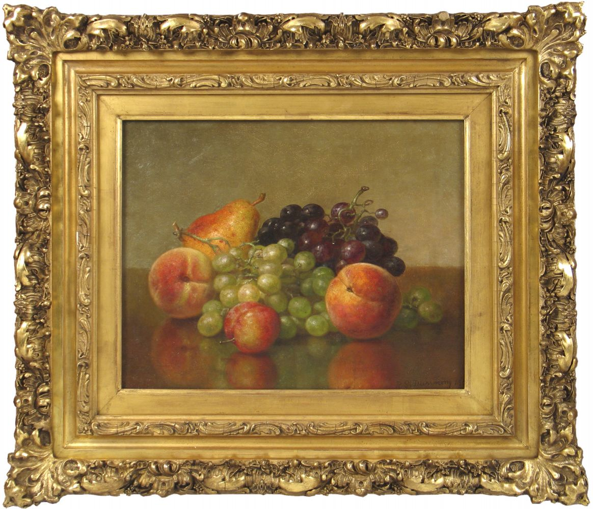 Robert Spear Dunning (1829–1905), An Arrangement of Fruit, 1901, oil on canvas, 11 x 14 in., signed and dated lower right: R. S. Dunning 1901, inscribed on verso: R. S. Dunning / 1901 (framed)