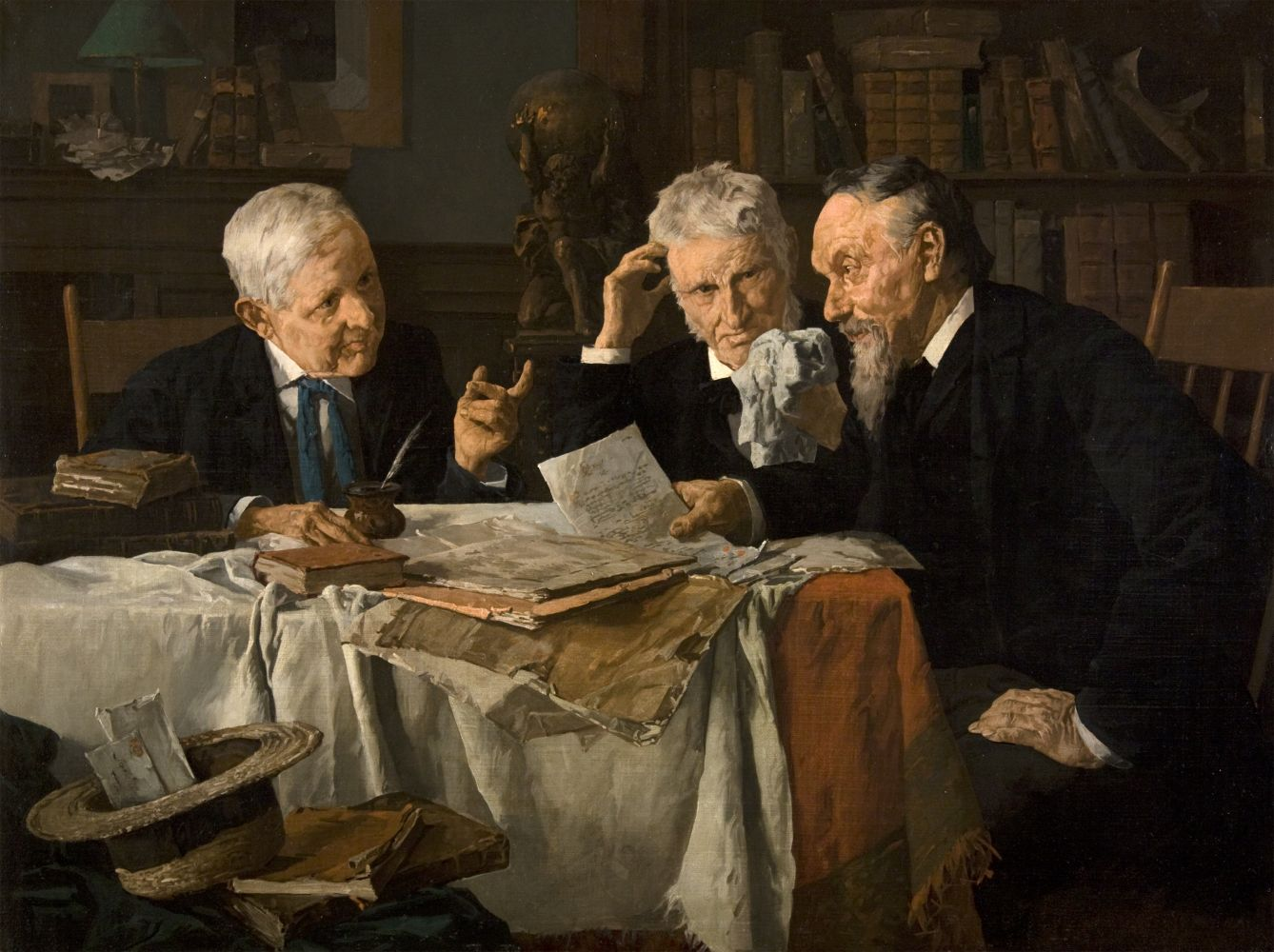 Louis Charles Moeller (1855–1930), A Discussion, c. 1890, oil on canvas, 18 x 24 in., signed indistinctly lower right: Louis Moeller N. A.