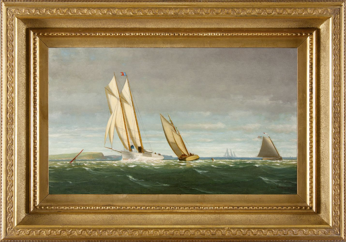 George Curtis (1816–1881), Sailing off the Coast, 1878, oil on panel, 11 ½ x 20 in., signed and dated lower right: Geo. Curtis 1878 (framed)