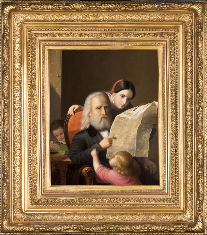 An intimate family scene executed c. 1852 by Hans Heinrich Bebie showing an elderly man reading the newspaper with his daughter and grandchildren. (Framed)