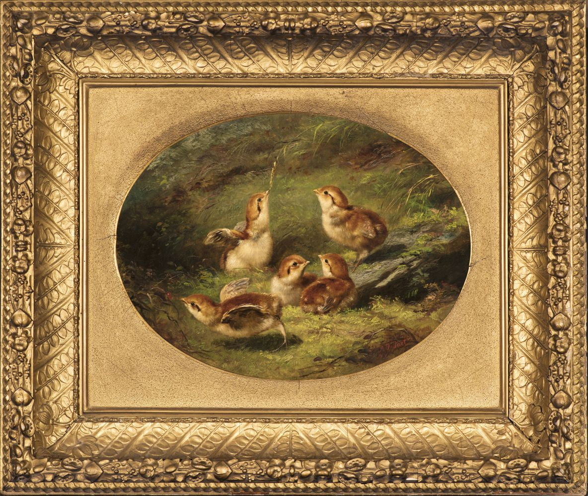 Arthur Fitzwilliam Tait (1819–1905), Young Ruffed Grouse, 1858, oil on canvas, 9 1/2 x 12 1/2 inches (oval), signed lower left: A. F. Tait / NY