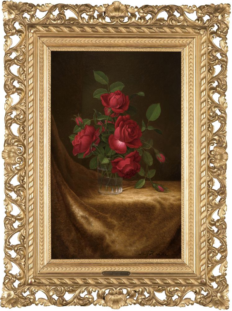 Martin Johnson Heade (1819–1904)  Four Roses in a Glass, c. 1883–1900 Oil on canvas, 22 x 14 in. Signed lower right: M J Heade (framed)