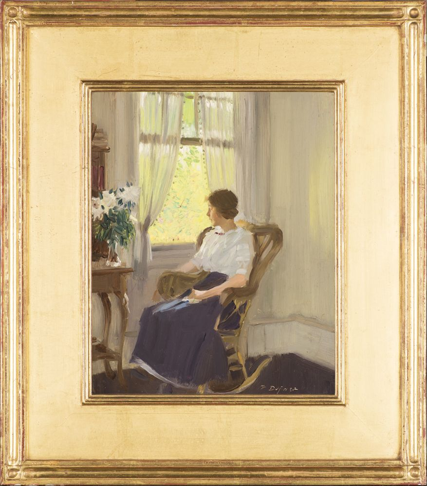 Edward Dufner (1871–1957), By the Window, c. 1911–17, oil on board, 9 3/4 x 7 3/4 in., signed lower left: E. Dufner (framed)