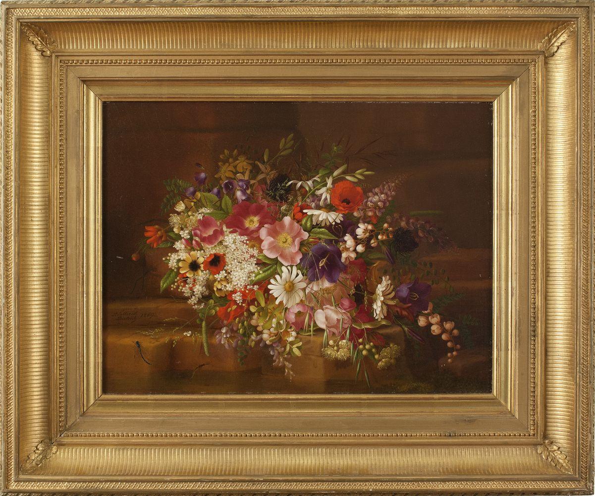 Adelheid Dietrich (1827–1891), Still Life with Flowers, 1869, oil on board, 13 3/4 x 17 in., signed lower left: Adelheid Dietrich / 1869 Signed and dated verso: Adelheid Dietrich. / 1869 (framed)