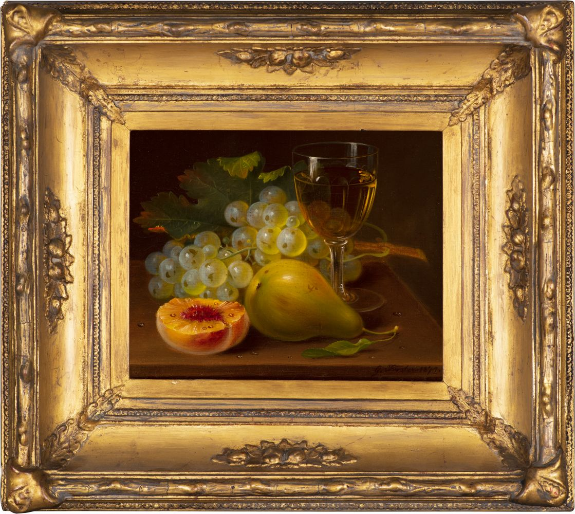 George Forster (1817–1896), Still Life with Fruit and Wine Glass, 1872, oil on canvas, 8 x 10 in., signed and dated lower left: G. Forster. 1872. (framed)
