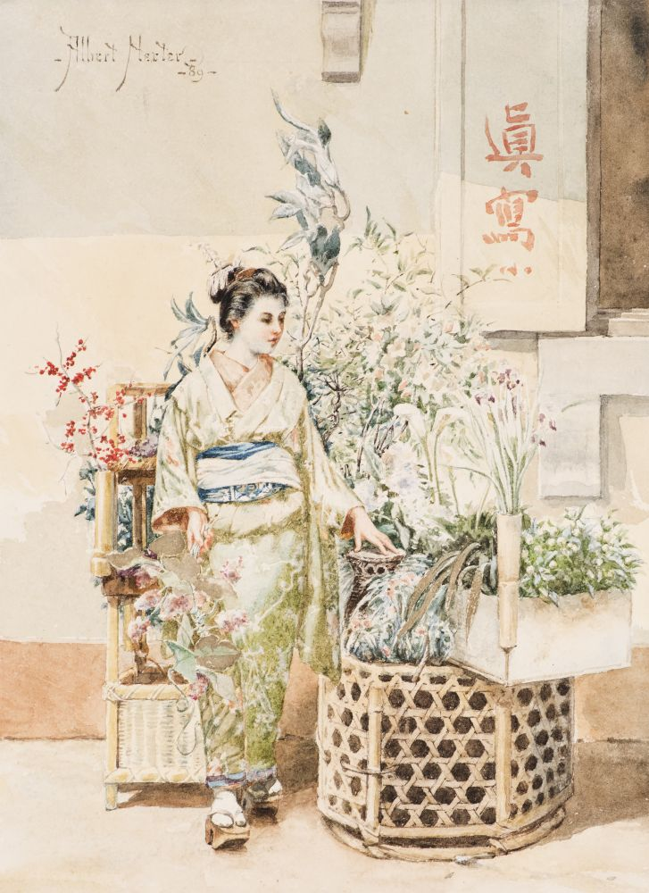 Albert Herter (1871–1950), A Japanese Woman, 1889, watercolor on paper, 9 x 6 1/2 in., signed and dated upper left: - Albert Herter - / - '89 -