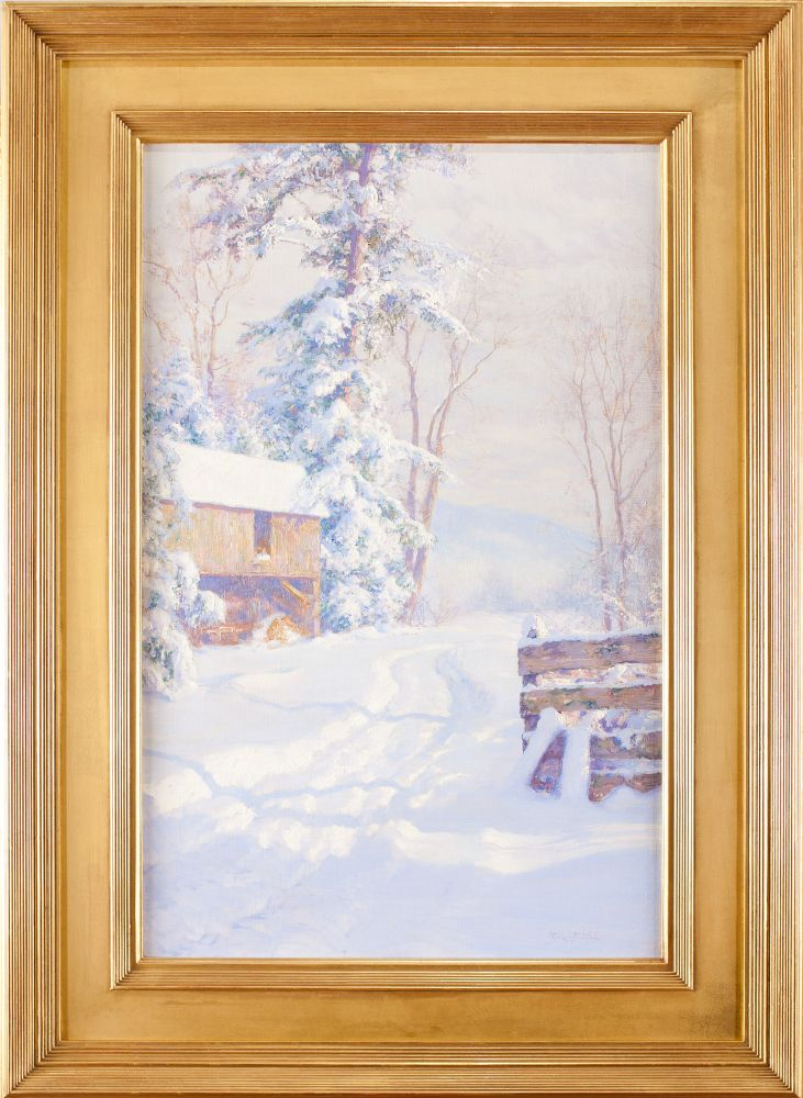 Walter Launt Palmer (1854–1932), Winter Morning, 1915, oil on canvas, 28 x 18 in., signed lower right: W. L. Palmer (framed)