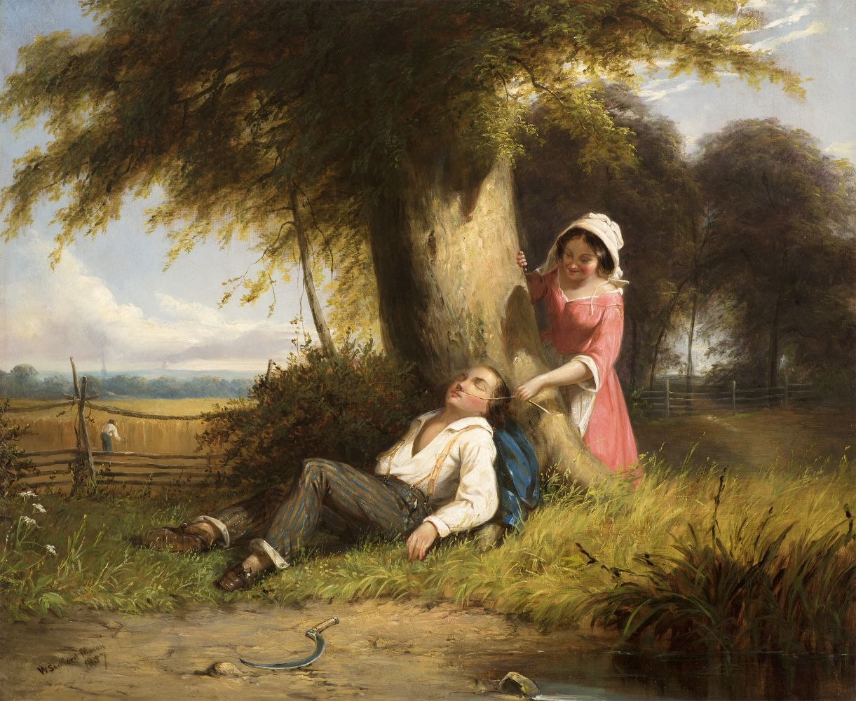William Sanford Mason (1824–1864), Caught Napping, 1857, oil on canvas, 20 x 24 1/4 in., signed and dated lower right: W. Sanford Mason