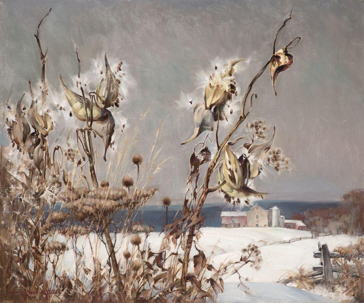 Arthur Meltzer (1893–1989), Milkweed in Winter, c. 1930, oil on canvas, 20 x 24 in., signed lower left: Arthur Meltzer