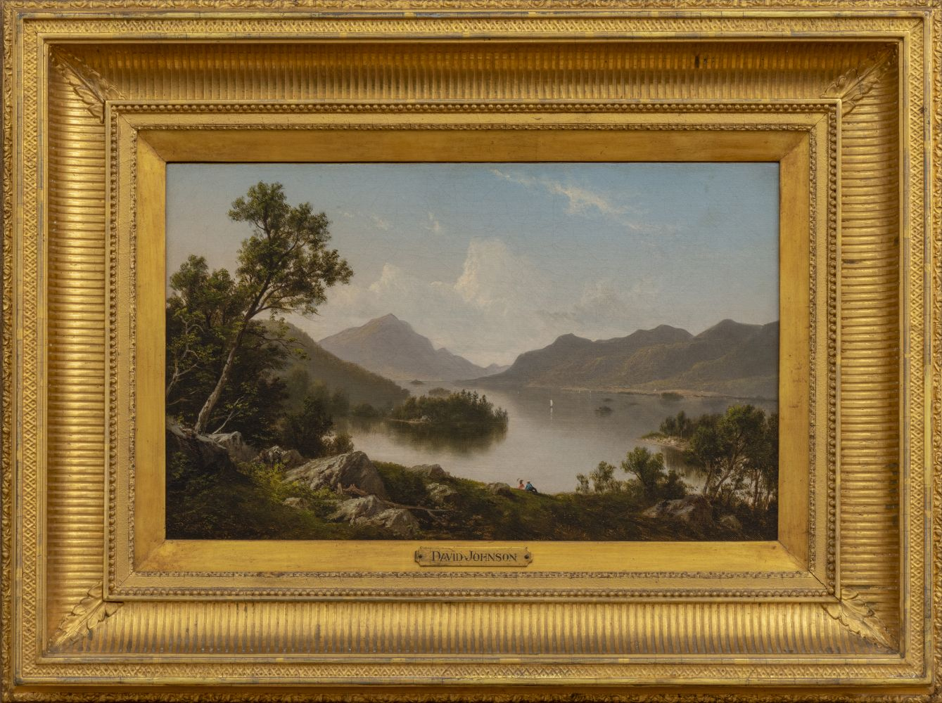David Johnson (1827–1908) Lake George, c. 1875. Oil on canvas. 10 x 16 in.  Signed lower left: DJ (framed)
