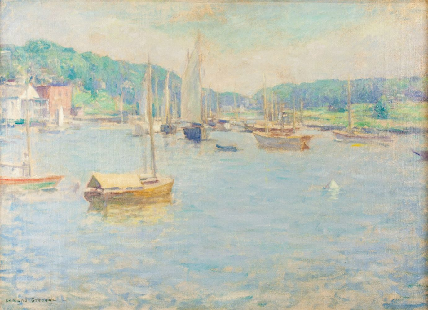 Edmund Greacen (1876–1949), Southport Harbor, c. 1930-33, oil on canvas, 26 1/4 x 36 1/8 in., signed lower left: Edmund Greacen