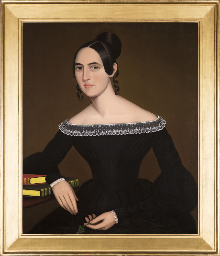 Ammi Phillips (1788–1865), A Portrait of Jeanette Payne, c. 1841, oil on canvas, 33 1/2 x 28 in. (framed)